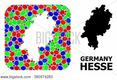 Vector Mosaic And Solid Map Of Hesse State. Bright Geographic Map Created As Subtraction From Rounde
