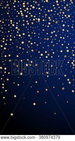 Festive Extraordinary Confetti. Celebration Stars. Sparse Gold Confetti On Dark Blue Background. Gor