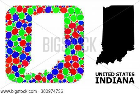 Vector Mosaic And Solid Map Of Indiana State. Bright Geographic Map Created As Subtraction From Roun