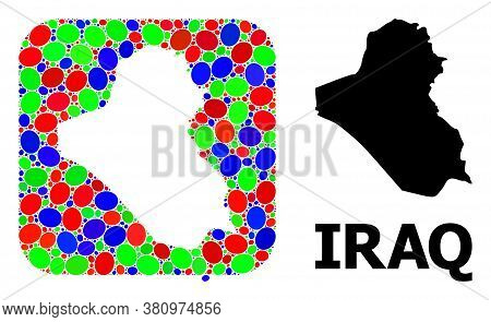 Vector Mosaic And Solid Map Of Iraq. Bright Geographic Map Designed As Stencil From Rounded Square W