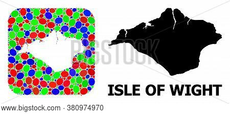 Vector Mosaic And Solid Map Of Isle Of Wight. Bright Geographic Map Designed As Subtraction From Rou