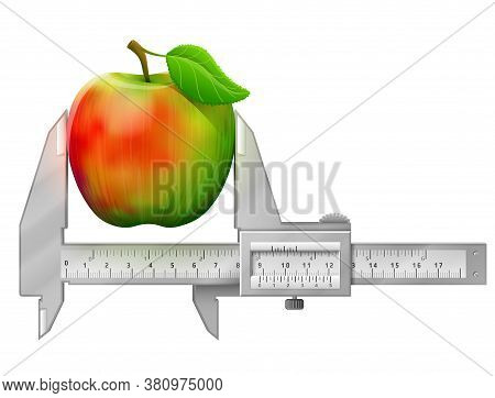 Horizontal Caliper Measures Apple Fruit. Concept Of Apple With Leaf And Measuring Tool. Vector Illus