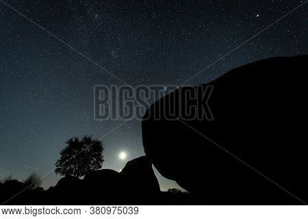 Night Landscape With Moon In Barruecos. Extremadura. Spain.