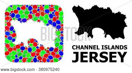 Vector Mosaic And Solid Map Of Jersey Island. Bright Geographic Map Created As Subtraction From Roun