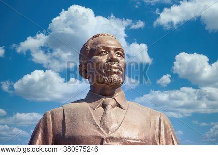 Gaborone, Botswana - 9.13.2010: Khama 3 , King of Botswana, at the three Dikgosi monument in CBD, Central Business District.