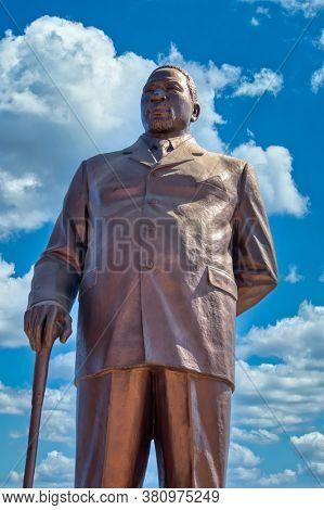 Gaborone, Botswana - 9.13.2010:Bathoen 1 , King of Botswana, at the three Dikgosi monument in CBD, Central Business District.
