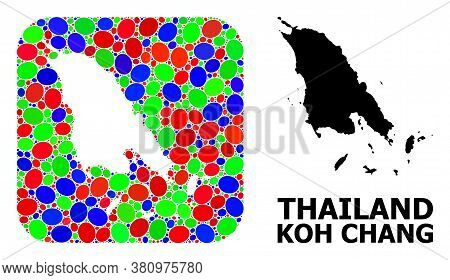 Vector Mosaic And Solid Map Of Koh Chang. Bright Geographic Map Constructed As Hole From Rounded Squ