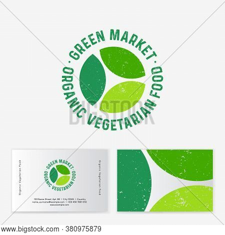 Green Organic Market Logo. Three Green Leaves And Letters On Circle. Vegetarian Organic Food Emblem.