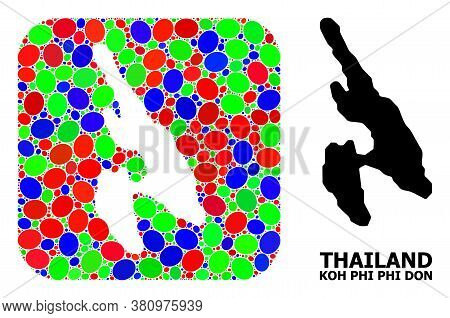 Vector Mosaic And Solid Map Of Koh Phi Don. Bright Geographic Map Designed As Carved Shape From Roun