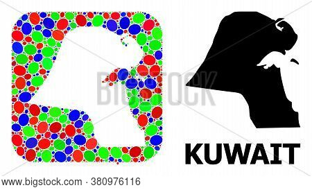 Vector Mosaic And Solid Map Of Kuwait. Bright Geographic Map Designed As Hole From Rounded Square Wi