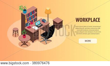 Home Office Study Workplaces Interior Organization Ideas Isometric Horizontal Web Banner With Desk B
