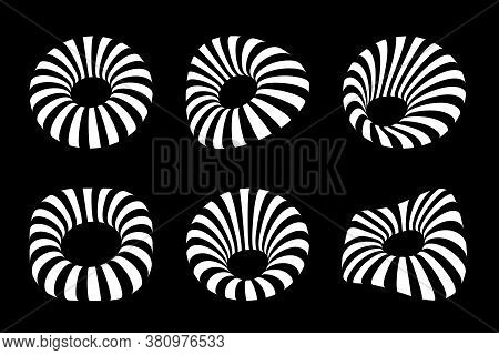 White 3d Circular Striped Frames Set. Three Dimensional Stripy Distort Shapes Isolated On The Black