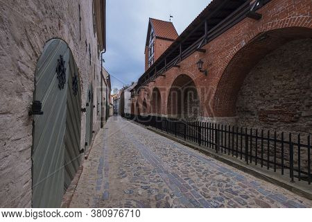 City Ramparts Wall In The Historical Center Of Riga In Latvia