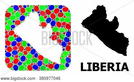 Vector Mosaic And Solid Map Of Liberia. Bright Geographic Map Constructed As Carved Shape From Round