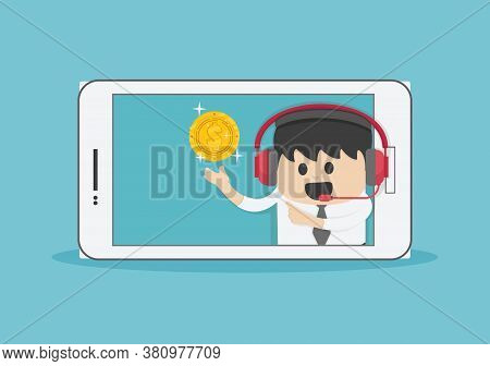 Businessman Suggestion Money Via Smartphone , Internet Banking