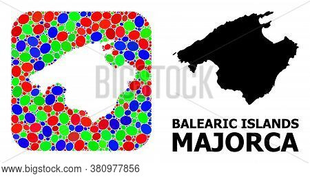 Vector Mosaic And Solid Map Of Majorca. Bright Geographic Map Constructed As Stencil From Rounded Sq