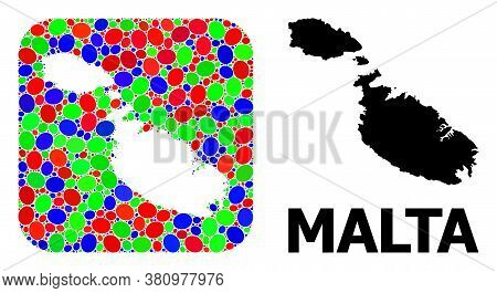 Vector Mosaic And Solid Map Of Malta. Bright Geographic Map Designed As Hole From Rounded Square Wit