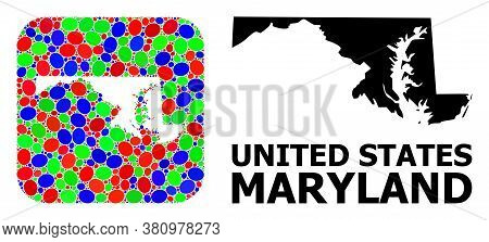 Vector Mosaic And Solid Map Of Maryland State. Bright Geographic Map Created As Stencil From Rounded