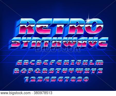 Retro Synthwave Alphabet Font. 3d Letters, Numbers And Symbols In 80s Style. Retro-futuristic Vector