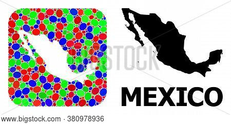 Vector Mosaic And Solid Map Of Mexico. Bright Geographic Map Designed As Hole From Rounded Square Wi