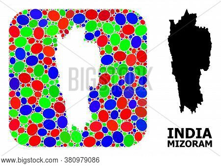 Vector Mosaic And Solid Map Of Mizoram State. Bright Geographic Map Created As Stencil From Rounded