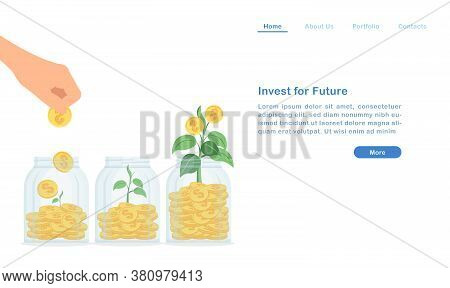 Website Landing Page Template Cartoon Invest And Grow Your Passive Income For Future Concept Bottles