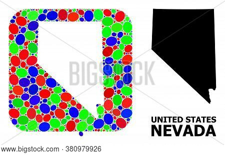 Vector Mosaic And Solid Map Of Nevada State. Bright Geographic Map Designed As Stencil From Rounded