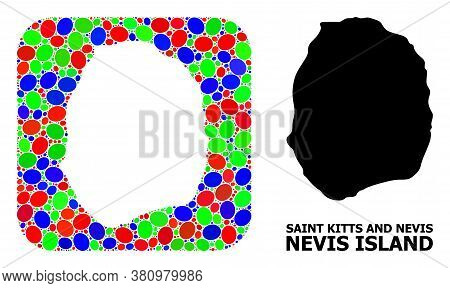 Vector Mosaic And Solid Map Of Nevis Island. Bright Geographic Map Designed As Hole From Rounded Squ