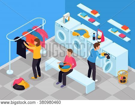 Laundry Room Isometric Composition With Indoor View Of Laundry Room With Washing Machines Detergents