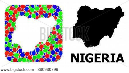 Vector Mosaic And Solid Map Of Nigeria. Bright Geographic Map Created As Stencil From Rounded Square
