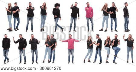collage of photos of happy young people.
