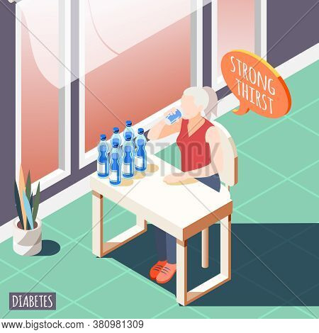 Diabetes Isometric Background With Diseased Women Feeling Strong Thirst And Drinks Water Vector Illu