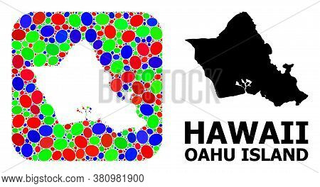 Vector Mosaic And Solid Map Of Oahu Island. Bright Geographic Map Constructed As Carved Shape From R