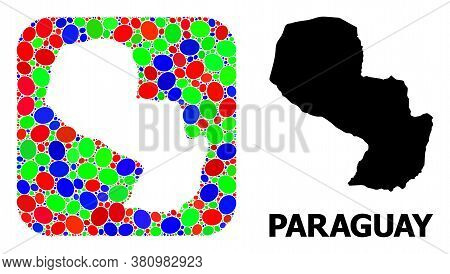 Vector Mosaic And Solid Map Of Paraguay. Bright Geographic Map Designed As Subtraction From Rounded