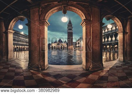 Hallway night view at Piazza San Marco in Venice, Italy.