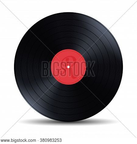 Old, Retro Red Vinyl Record, Lp, Vector Illustration Isolated On White Background