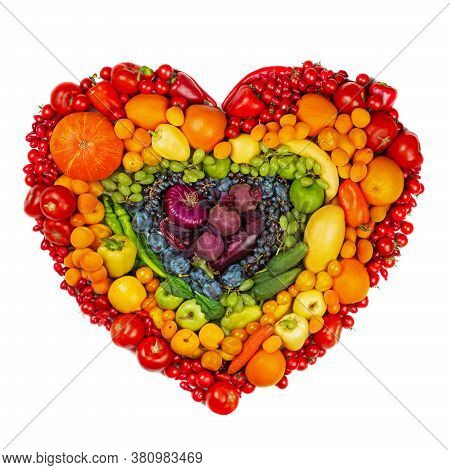 Rainbow Heart Of Fruits And Vegetables Studio Isolated On White Background Go Vegetarian Love Health