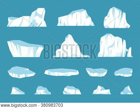 Cartoon Floating Iceberg Set. Ocean Ice Rocks Landscape For Climate And Environment Protection Conce