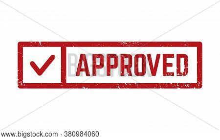 Grunge Red Accepted Square Rubber Seal Stamp On White Background. Accepted Rubber Stamp With Tick. V