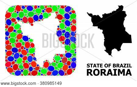 Vector Mosaic And Solid Map Of Roraima State. Bright Geographic Map Constructed As Stencil From Roun