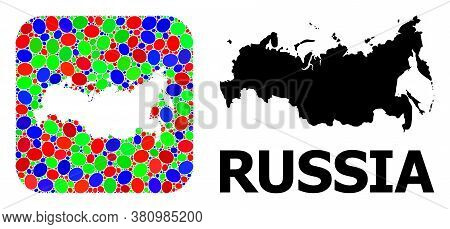 Vector Mosaic And Solid Map Of Russia. Bright Geographic Map Created As Hole From Rounded Square Wit