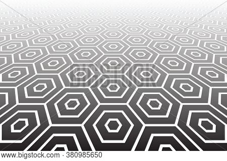 Geometric hexagons pattern and texture in diminishing perspective.