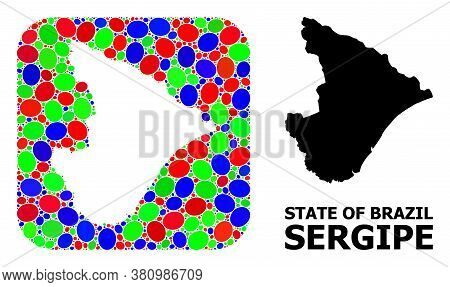 Vector Mosaic And Solid Map Of Sergipe State. Bright Geographic Map Constructed As Subtraction From