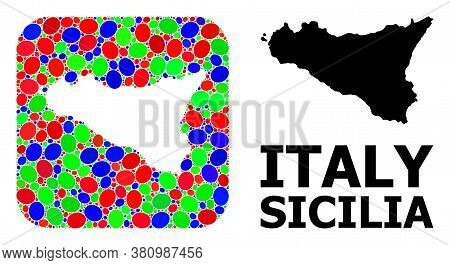 Vector Mosaic And Solid Map Of Sicilia Island. Bright Geographic Map Created As Hole From Rounded Sq