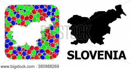 Vector Mosaic And Solid Map Of Slovenia. Bright Geographic Map Designed As Subtraction From Rounded