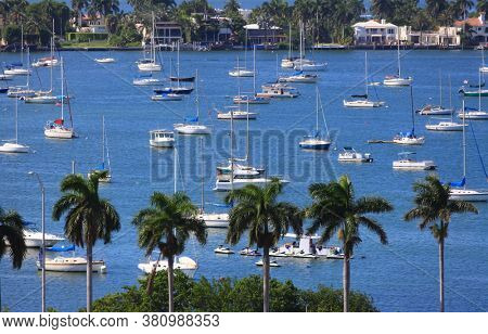 Miami,Florida-July 3,2017: Several boats anchored at man made Watson island in Biscayne Bay near Miami downtown