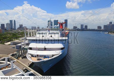 Miami,Florida-July 3,2017: Port of Miami is the largest passenger port in the world.