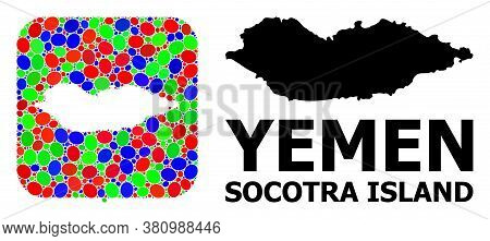 Vector Mosaic And Solid Map Of Socotra Island. Bright Geographic Map Created As Hole From Rounded Sq