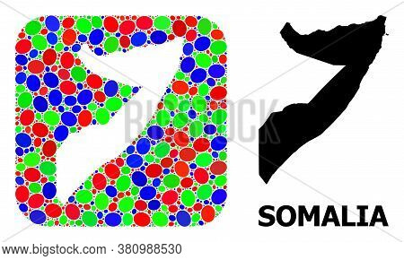 Vector Mosaic And Solid Map Of Somalia. Bright Geographic Map Created As Carved Shape From Rounded S