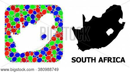 Vector Mosaic And Solid Map Of South African Republic. Bright Geographic Map Created As Subtraction